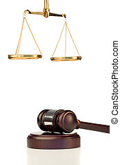 Fixed gavel and scale of justice on a white background