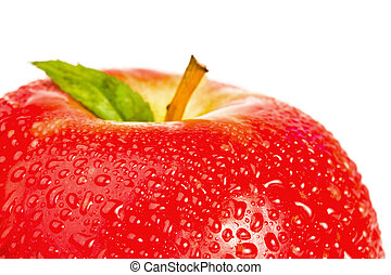 Top part of a red wet apple