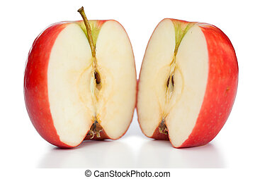 Halved apple on a white background