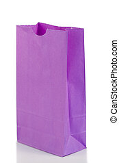 Angled purple paper bag on a white background