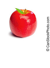 Red apple ans its leaf - Red apple and its leaf on a white...