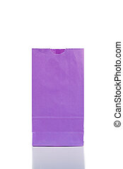 Purple paper bag on a white background