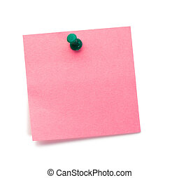 Pink post-it with drawing pin on a white background