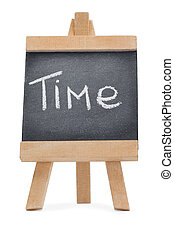 Chalkboard with the word time written on it