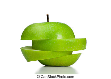 Cut and thrown of center apple