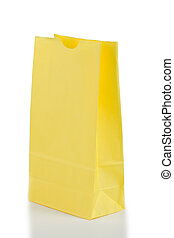 Yellow paper bag on a white background