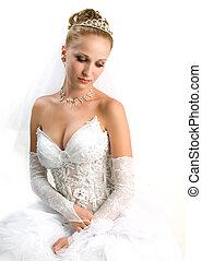 bride looking down - Portrair of the beautiful bride looking...