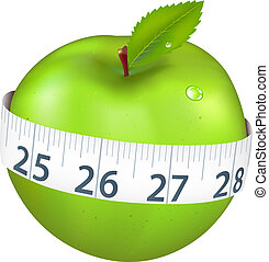 Green Apple With Measurement, Isolated On White Background,...
