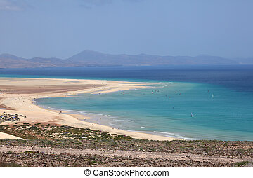 Beach Playa de Sotavento on Canary Island Fuerteventura,...