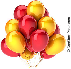 Party balloons colored red yellow
