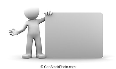 3D character holding a blank billboard. Isolated