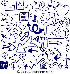 Set of 53 doodled arrows (Set One).