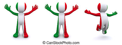 3d character textured with flag of Italy isolated on white...