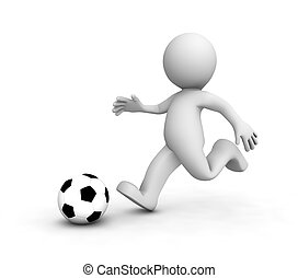 3D Soccer players running after the ball. Isolated