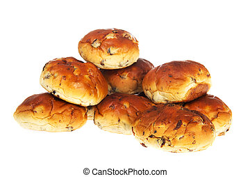 Bread bun rolls with currants and raisins - Many bread bun...