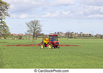 crop spraying - a red crop sprayer in green fields of wheat...