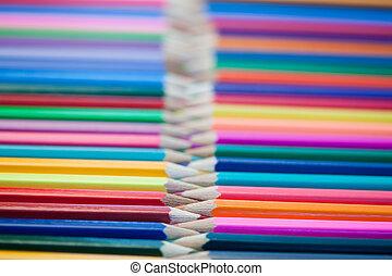 Rows of color pencils