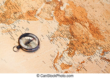 World map with compass showing Africa and Asia