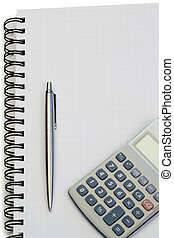 Notebook with pencil and pocket calculator on a white...