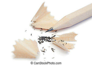 White pencil and its peelings on a white background