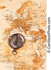 World map with compass showing North Africa and Europe