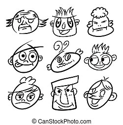 hand draw cartoon head icon