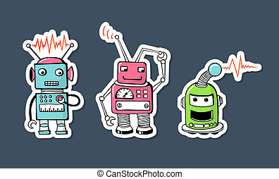robots - cute and funny stickers with robots