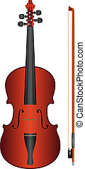 violin - vector - isolated violin with fiddlestick on white...