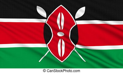 Kenya flag, with real structure of a fabric