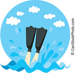 Diving Splash - Person legs splashing on water with diving...