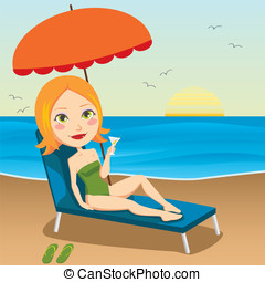 Sunset Redhair - Pretty red haired woman sitting on a chaise...