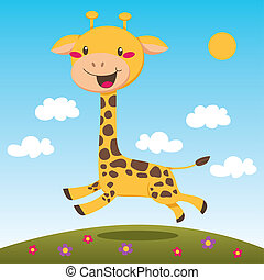 Jumping Giraffe - Happy giraffe jumping and running outdoors...