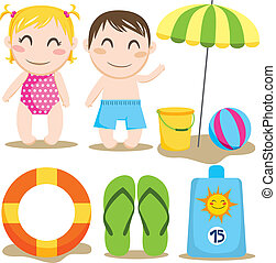 Baby Beach - Two children and a collection of beach items...