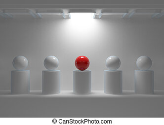Leadership concept with red sphere