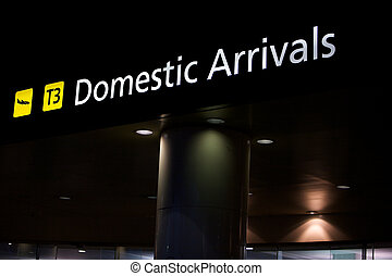 Domestic arrivals airport, sign and directions, Melbourne...