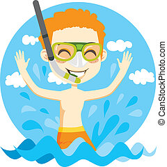 Swimming Boy - Young kid with snorkel and diving mask...