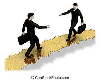 Puzzle bridge - Render of businessmen walking a puzzle...