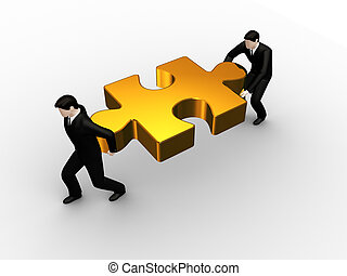 Hold a puzzle - On 3d image render of businessmens hold a...