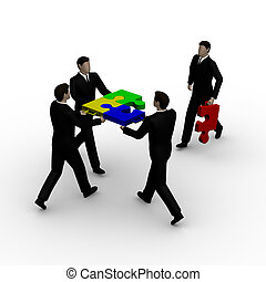 Teamwork puzzle - On 3d image render of businessmens hold a...