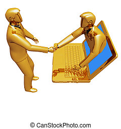 Laptop connection people - On 3d images online connection...