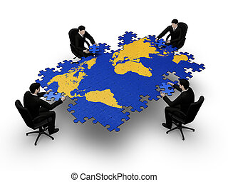 Businessmens making a puzzle - On 3d image render of group...