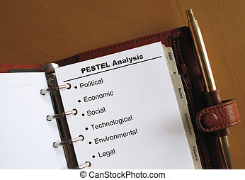 Business concepts PESTEL Analysis list with bullets in a...