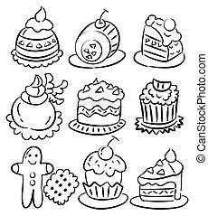 hand draw cartoon cake icon  - hand draw cartoon cake icon