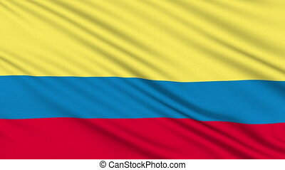 Colombia flag, with real structure of a fabric