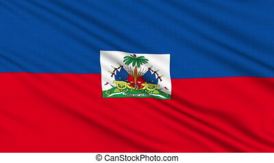Haiti flag, with real structure of a fabric
