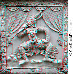 3d photo of engraving - 3D stereo Traditional antique Thai...