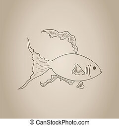 Gold small fish drawn by a hand A vector illustration