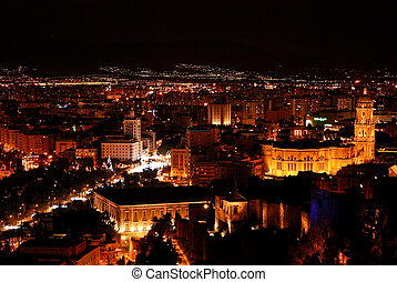 Malaga at night