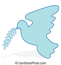dove - blue dove with straightened wing with branch on white...