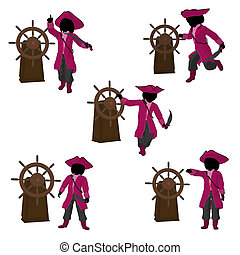 Teen Pirate Illustration Silhouette - A teen pirate with a...